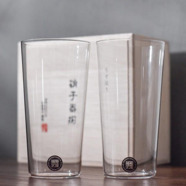 松徳硝子 Shotoku Glass Usuhari Tumbler L Set with wooden box